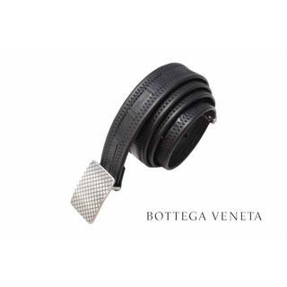 ボッテガヴェネタ(Bottega Veneta)のD644 BOTTEGA VENETA リアル クロコ 編込 ベルト BK★90(ベルト)