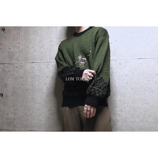 [used]khaki art design wool knit.(ニット/セーター)