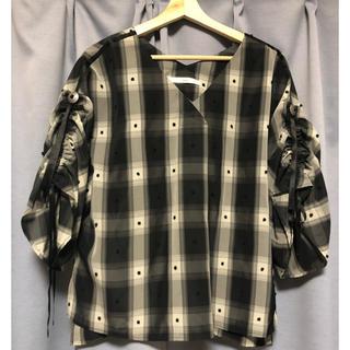 エディション(Edition)の5knot  ブラックチェックギャザートップス(シャツ/ブラウス(半袖/袖なし))