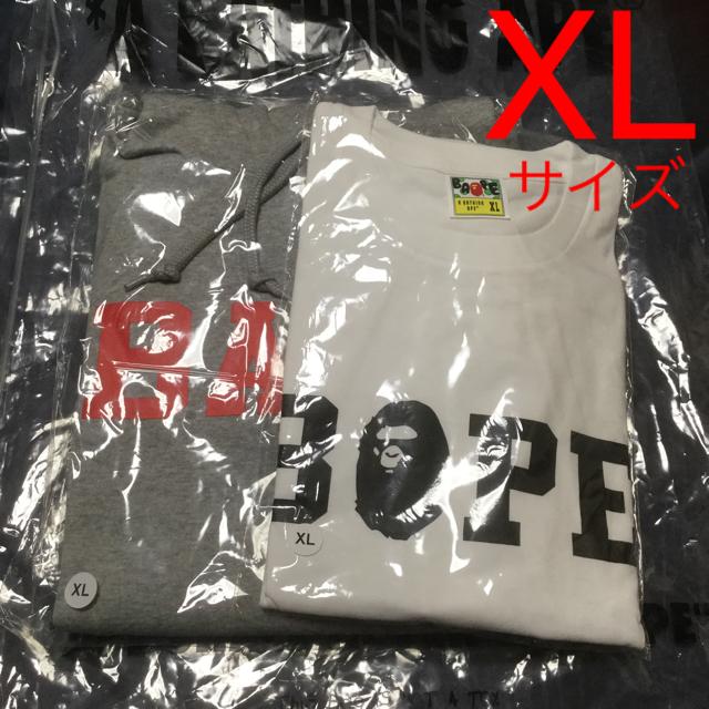 A BATHING APE(アベイシングエイプ)のXLサイズ アベイシングエイプ XLプルオーバー&Tシャツ2点セット メンズのトップス(パーカー)の商品写真