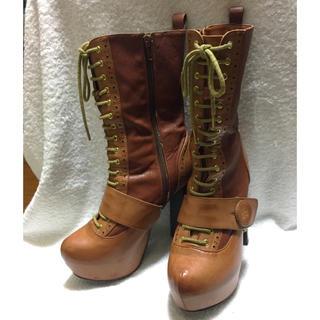 1〜2回使用 モード系 厚底ブーツ 茶色 ノーブランド(ブーツ)