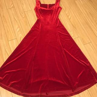 フラダンス衣装 赤ベロアドレス(ロングドレス)