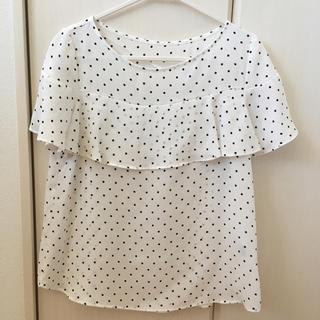 ジーユー(GU)のGUドットブラウスS  ホワイト(シャツ/ブラウス(半袖/袖なし))