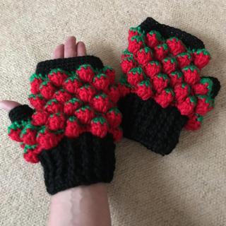 いちご手編み手袋(手袋)
