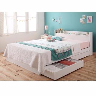 SD ホワイト 収納ベッド コンセント マットレス付(セミダブルベッド)