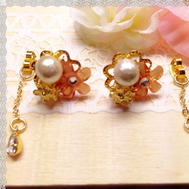 コットンパールピアスオレンジ♡ レディースのアクセサリー(ピアス)の商品写真