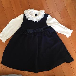シマムラ(しまむら)の入園 紺色 フォーマルワンピース フリルブラウスセット 95(ドレス/フォーマル)