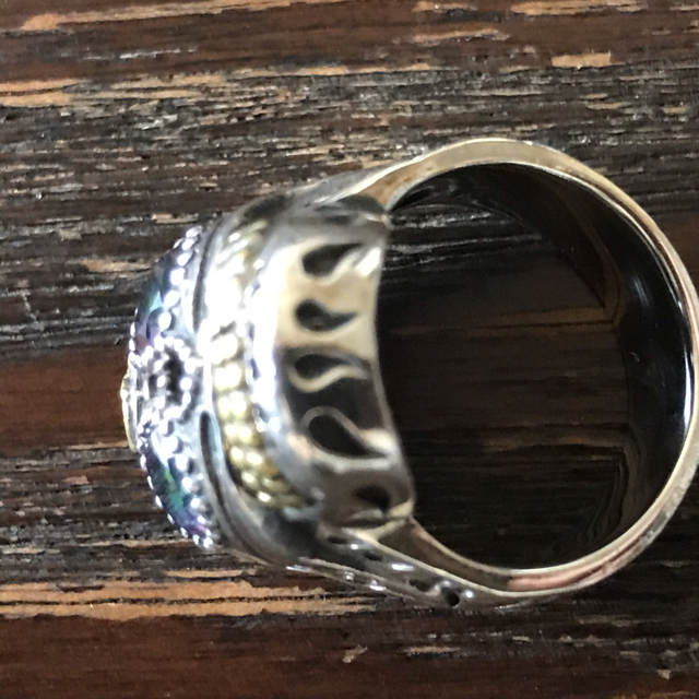 メキシカンリング シルバースカルリング(9号)真鍮 メキシコSKULL RING メンズのアクセサリー(リング(指輪))の商品写真
