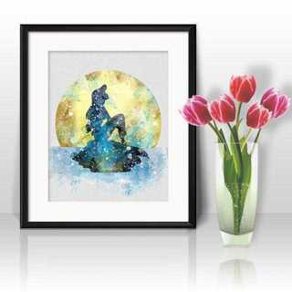 Disney - アリエル(月)(リトルマーメイド)アートポスター【額縁つき・送料無料!】