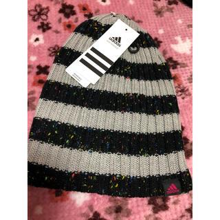 アディダス(adidas)の未使用品♡アディダスのニット帽    黒×グレー(ニット帽/ビーニー)