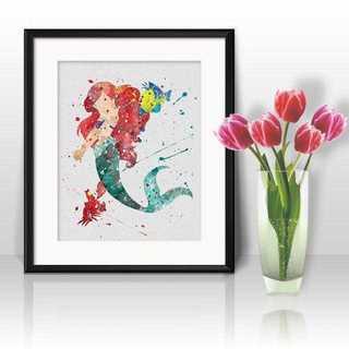 Disney - アリエル&セバスチャン&フランダー(リトルマーメイド)アートポスター【額縁つき】