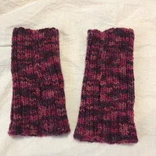 ハンドメイド  ニット 手編みハンドウォーマー 手袋 指なし(手袋)