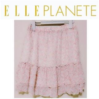 エルプラネット(ELLE PLANETE)の美品/ELLEPLANETE/エルプラネット/シフォン/ミニ/スカート/花柄(ひざ丈スカート)