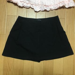 ザラ(ZARA)のZARA ミニスカート風キュロット 黒 XSサイズ(キュロット)