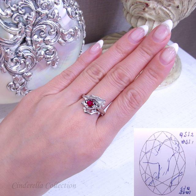 あや様専用❤️Pt950★ピジョンブラッド天然ルビー★華麗なるカラーリング レディースのアクセサリー(リング(指輪))の商品写真
