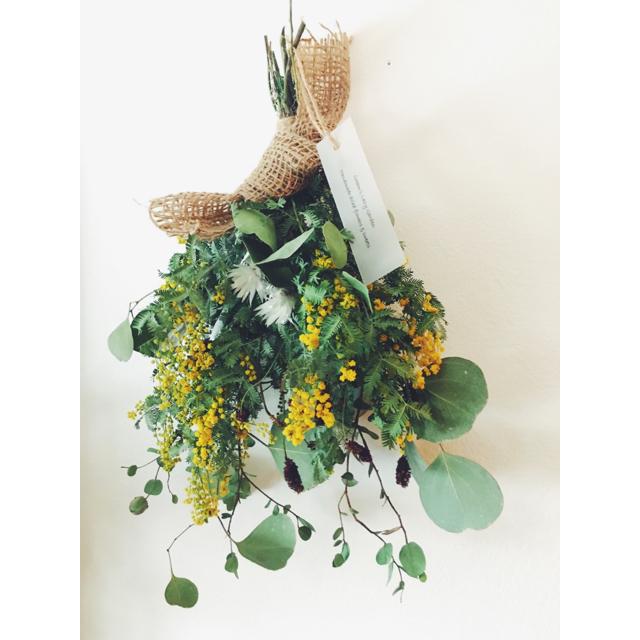 ミモザ  ユーカリ ワレモコウのスワッグc ハンドメイドのフラワー/ガーデン(ドライフラワー)の商品写真