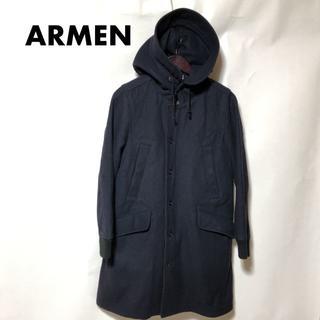 アーメン(ARMEN)のARMEN アーメン ファーライニング付メルトンフードコート 濃紺(ロングコート)