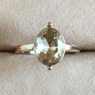 (127)シトリンカラーの一粒ビジューリング アンティーク(リング(指輪))