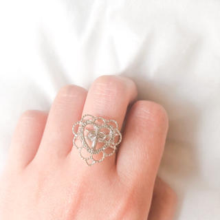 ♥️ Vintage Silver Heart Cross ring(リング)