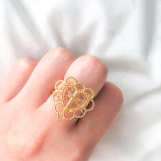 ♥️ Vintage Gold Heart Cross ring(リング)