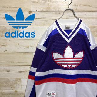 アディダス(adidas)の【希少】【90's 】【アディダス】【トレフォイル】【ゲームシャツ】【デサント】(Tシャツ/カットソー(半袖/袖なし))