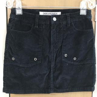 ザディグエヴォルテール(Zadig&Voltaire)の美品 ZADIG&VOLTAIRE ブラック コーデュロイミニスカート 36 L(ミニスカート)