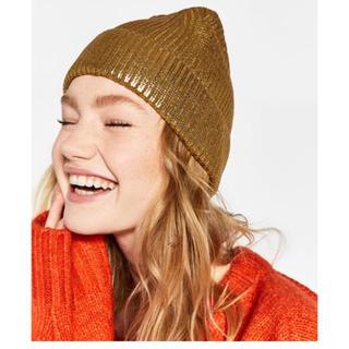ザラ(ZARA)のZARA新品メタリックゴールドニット帽子ザラ(ニット帽/ビーニー)