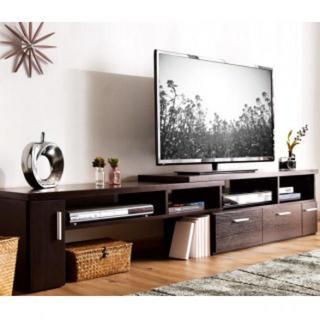 木目調 伸縮 テレビボード ブラウン(マガジンラック)