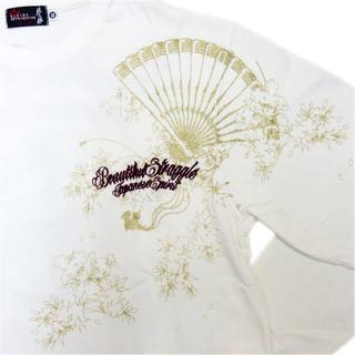 カラクリタマシイ(絡繰魂)の送料無料抜刀娘絡繰魂261102新品和柄メンズロンT長袖Tシャツ白LL(XL)(Tシャツ/カットソー(七分/長袖))