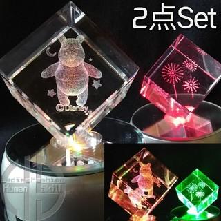 ディズニー(Disney)の美品2点セット★LED クリスタル ライト 3D ディズニー 花火 台座 回転式(その他)