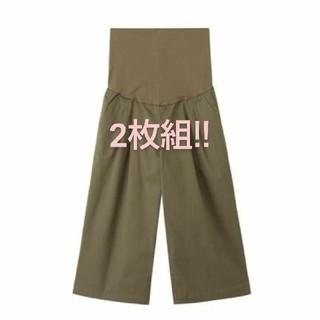 MUJI (無印良品) - 【 2枚組】無印  産前産後 麻 ガウチョパンツ オリーブ&ネイビー
