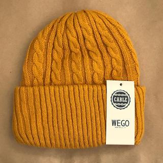 ウィゴー(WEGO)のWEGO ケーブルニットキャップ イエロー(ニット帽/ビーニー)