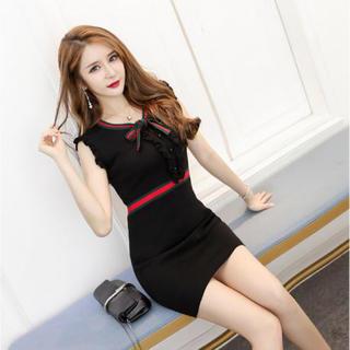 ディーホリック(dholic)の人気♡ミニワンピ  ドレス キャバ リボン タイト 黒 L(ミニドレス)