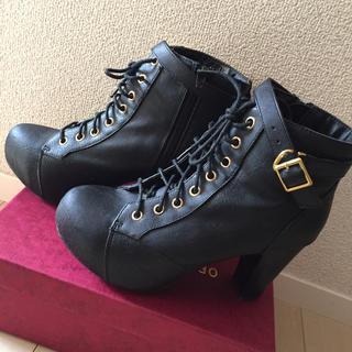 ヘザー(heather)のHeater ヘザー  ブラック  厚底ショートブーツ  (ブーツ)