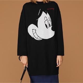 ディズニー(Disney)のディズニー ミッキー黒のニットワンピース(ニット/セーター)