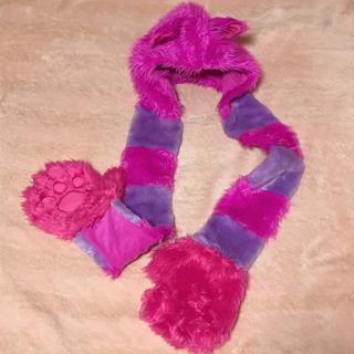 ディズニー(Disney)のチャシャ猫 フード付きマフラー 手袋(マフラー/ショール)