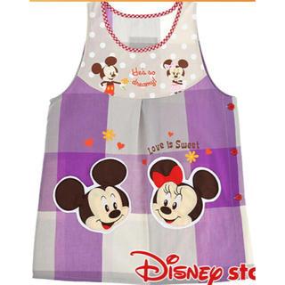ディズニー(Disney)のエプロン ミッキー&ミニー パープルチェック(その他)