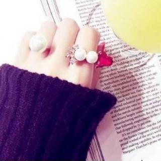 赤 レッド ハート パール ビジュー ファランジ リング ゆびわ 指輪(リング(指輪))