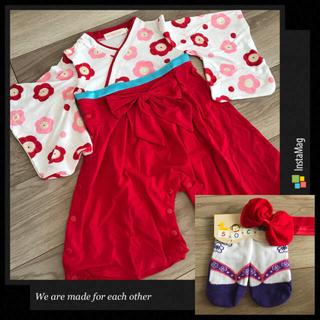 80cm❤︎袴ロンパース赤&草履風靴下紫9-12cm&ヘアバンド 女の子(和服/着物)