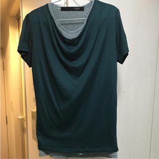 シュリセル(SCHLUSSEL)のシュリセルSCHLUSSEL レイヤード ドレープ 半袖カットソー グリーン(Tシャツ/カットソー(半袖/袖なし))