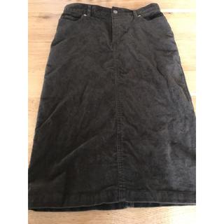 ムジルシリョウヒン(MUJI (無印良品))の無印良品 オーガニックコットン混ストレッチコーデュロイスカートM カーキグリーン(ひざ丈スカート)