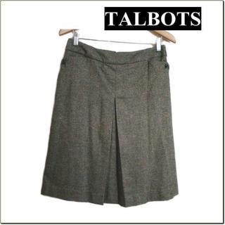 タルボット(TALBOTS)のタルボット◆グリーン系ネップツイード調膝丈タックスカート◆大きいサイズ◆8(ひざ丈スカート)