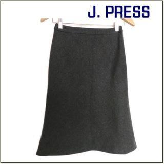ジェイプレスレディス(J.PRESS LADIES)のジェイプレス◆チャコールグレー系ウール混膝丈スカート◆オンワード樫山◆7(ひざ丈スカート)