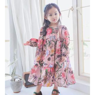 ザラキッズ(ZARA KIDS)の花柄 ロングワンピース フラワー 韓国子供服(ワンピース)