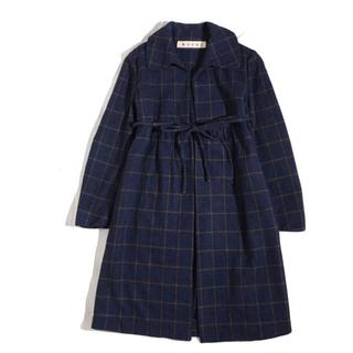 マルニ(Marni)のマルニ  カシミア混  チェック 一枚仕立て 羽織コート(ロングコート)