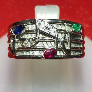 k18wg ルビー エメラルド サファイア ダイヤモンド 音符 リング 指輪(リング(指輪))