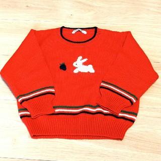 ファミリア(familiar)のファミリア セーター 100㎝ ニット うさぎ 赤 刺繍 (ニット)