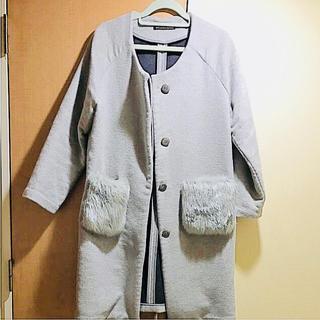 グラマラスガーデン(GLAMOROUS GARDEN)のウール混 ファーポケット コート(ロングコート)