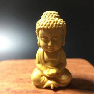 柘植 可愛い釋迦摩尼仏 仏具 仏像  置物 お守り  根付 縁起物 枕本尊 (彫刻/オブジェ)