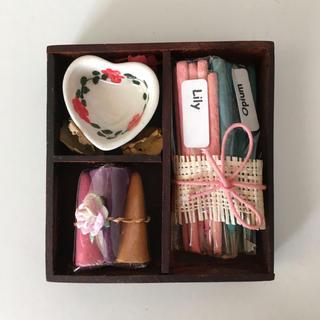 【お香】小さな木箱に入った、かわいいお香セット❁ 。*